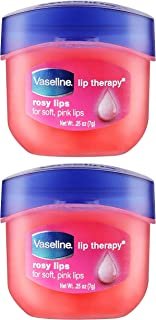 Vaseline Lip Therapy Lip Balm Mini, Rosy Lips | Lip Repair in a Container for ed, Dry Lip | Travel Size 0.5 Oz (Pack of 2)