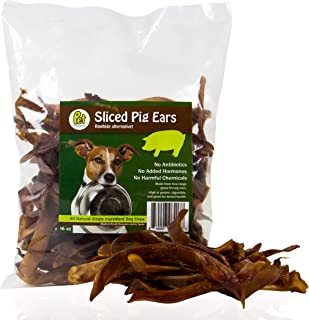 Pet Magasin Rawhide Alternative Sliced Pig Ears Strips 16 Oz Irradiated for Safe Dog Treats, Made in Registered Facility