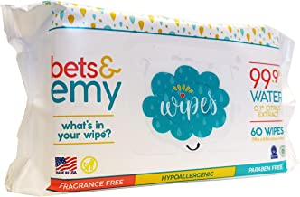 BETS & EMY American-Mom Made Baby Wipes 99.9% Water! 540 Count (9 Packs of 60 Count)