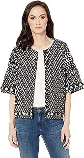 Women's Knit Jacquard Elbow Sleeve Jacket with Pom Poms