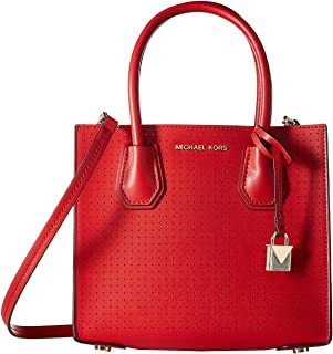 Michael Kors Mercer Bright Red Perforated Leather Medium Messenger Bag