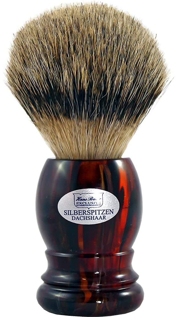単調な襟出身地Shaving brush silvertip badger, Havanna handle - Hans Baier Exclusive