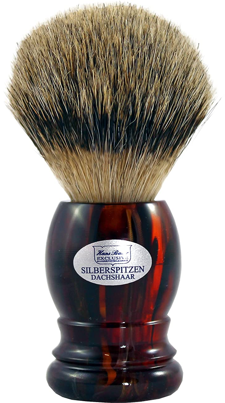 水陸両用礼儀ラッカスShaving brush silvertip badger, Havanna handle - Hans Baier Exclusive