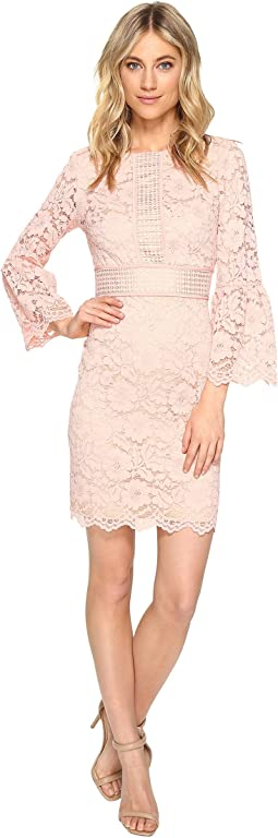 Lace Shift Dress with Bell Sleeves