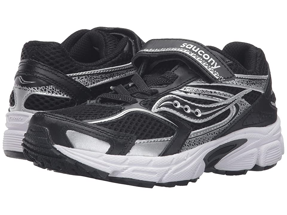 Saucony Kids Cohesion 9 A/C (Little Kid) (Black/White) Boys Shoes