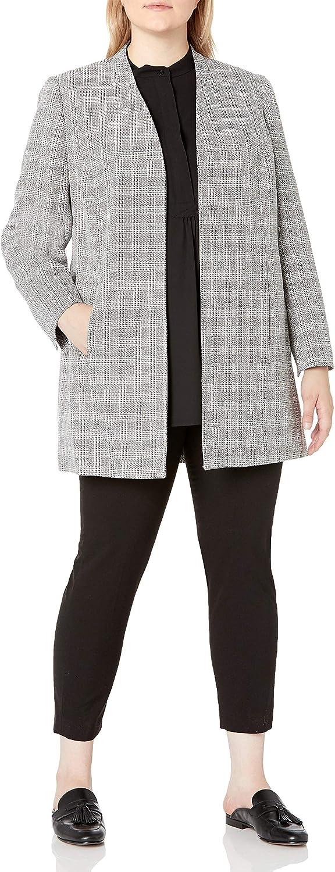 Le Suit Women's Plus Size Plaid Tweed Collarless Topper Dress