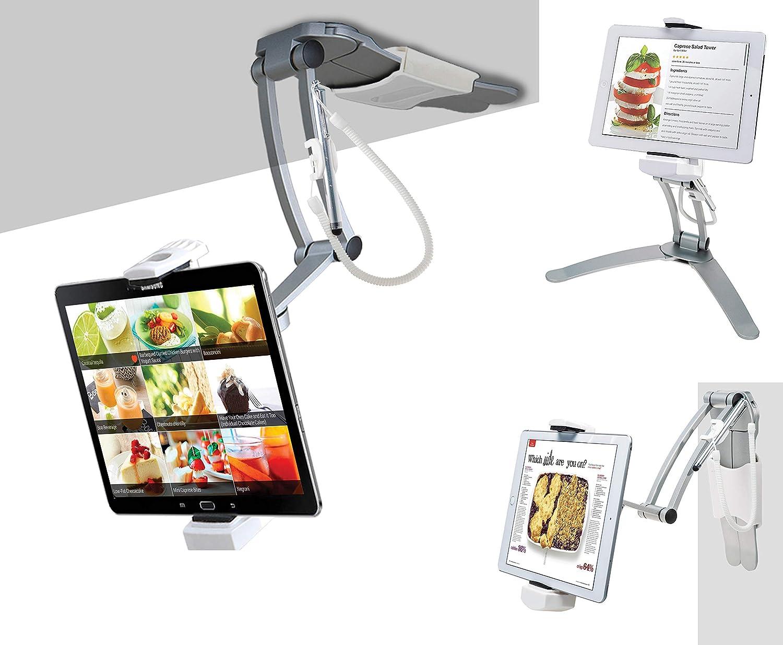 "3-in-1 Mount Stand – CTA 3-in-1 Kitchen Mount Stand For iPad 8th Gen 10.2"", iPad Air 4, iPad Mini 5, 12.9"" iPad Pro, iPad Pro 11"", Galaxy Tab S3, Zebra Tablets, & Other 7-13"" Devices (PAD-KMS)"