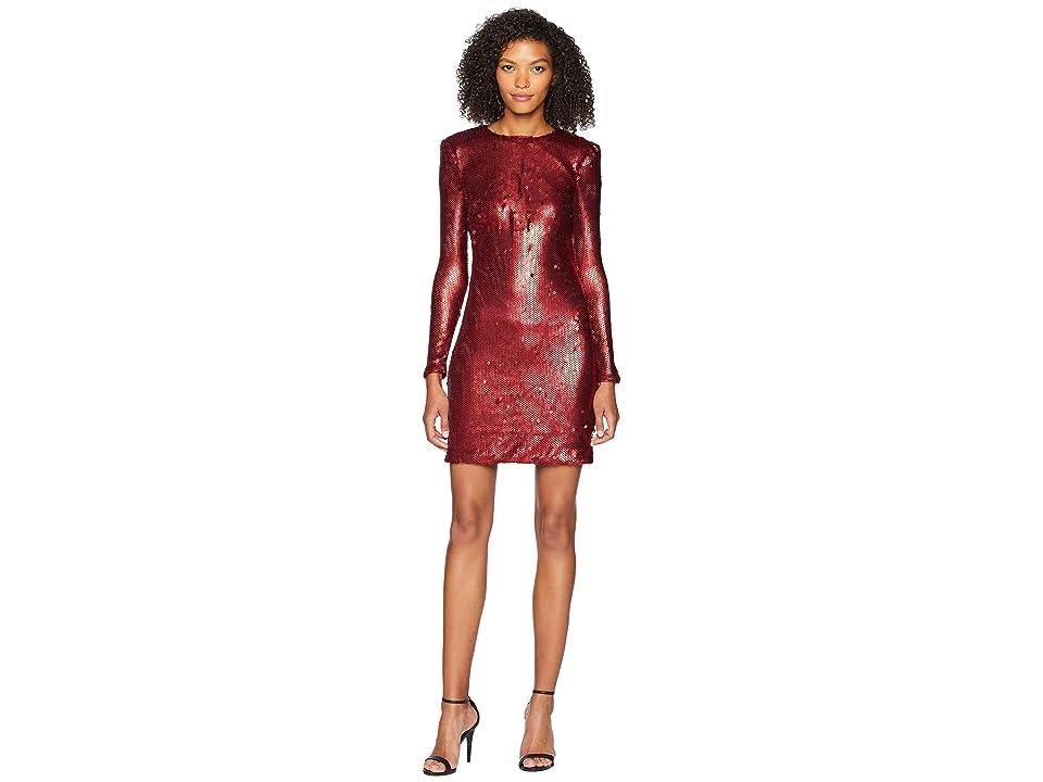 ML Monique Lhuillier - ML Monique Lhuillier Long Sleeve Sequin Cocktail Dress