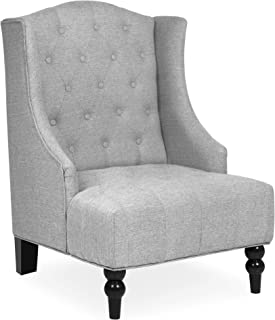 Best Choice Products Fabric Tufted French Style Tall Wingback Accent Chair Home Décor w/Extra Wide Seat, Wooden Legs, Gray