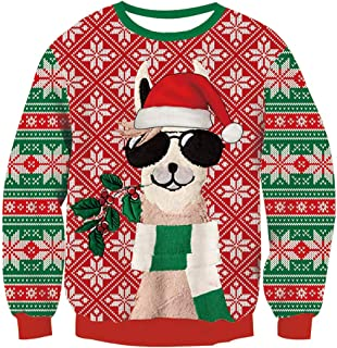 Sponsored Ad – RAISEVERN Unisex Ugly Christmas Sweater Funny Santa Xmas Jumpers Long Sleeve Knitted Pullover for Men/Women