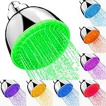دش ثابت LED رأس دش ارتفاع ضغط المطر 7 ألوان ضوء الوميض، تغيير تلقائي قابل للتعديل فاخر حديث حديث حديث حديث من الكروم تدفق ...