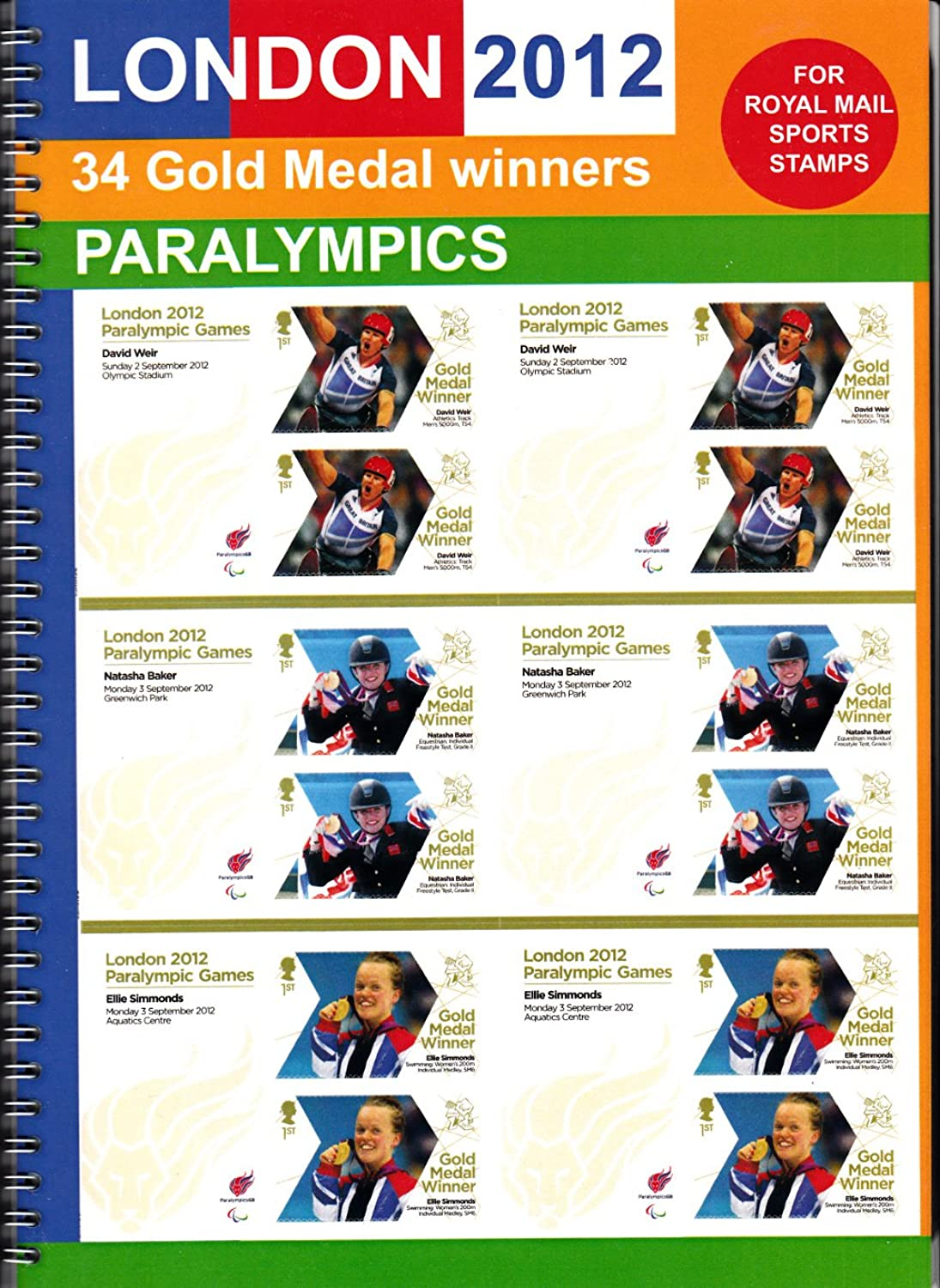 Royal Mail London 2012 Paralympic Gold medal winners stamps collection in presentation album B0099MNKIE  | Realistisch
