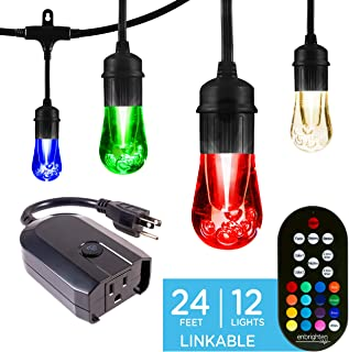 Enbrighten Works with Alexa WiFi Outdoor String Lights Kit: Vintage LED Color Changing Café Lights (24ft. 12 LED Bulb) + myTouchSmart WiFi Smart Plug, No Hub Required, Mobile and Voice Control, 45066