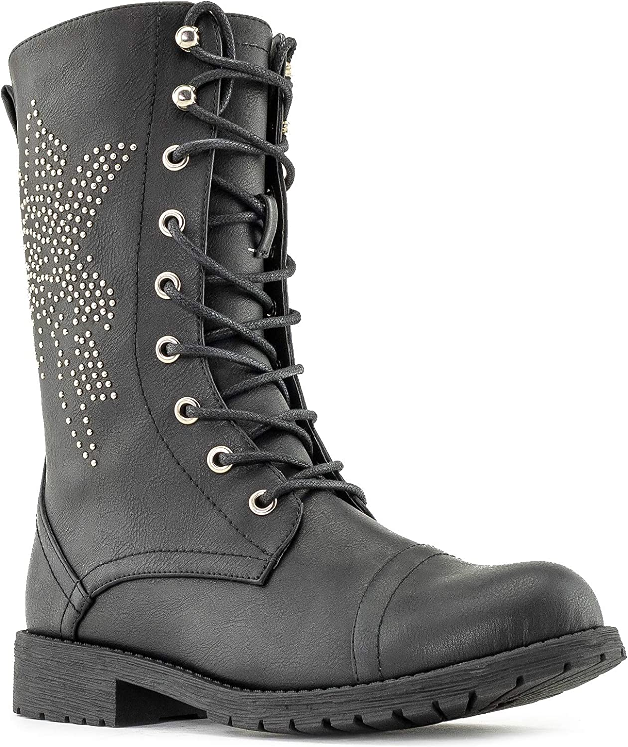 Nature Breeze Women's Military Combat Lace Up Mid Calf Boots