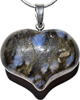 Zenergy Gems Selenite Charged Natural Crystal Puffy Heart Pendant + 20