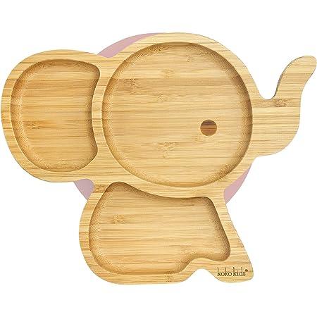 Piastra di aspirazione dell'elefante in bambù naturale ~ Piastra di alimentazione per neonati e bambini con anello di aspirazione forte (Rosa)