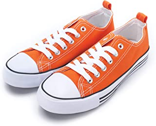 Women's Sneakers Casual Canvas Shoes, Low Top Lace up Cap Toe Flats (Order One Size Up) Orange Size: 8