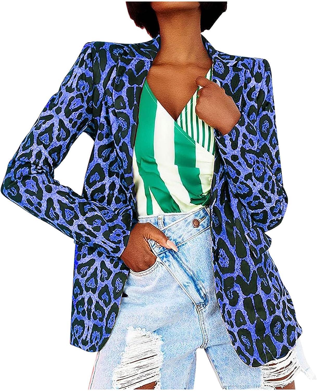 Women Casual Office Blazers Long Sleeve Leopard Printing Turndown Collar Fashion Coat Single Button Blouse Tops