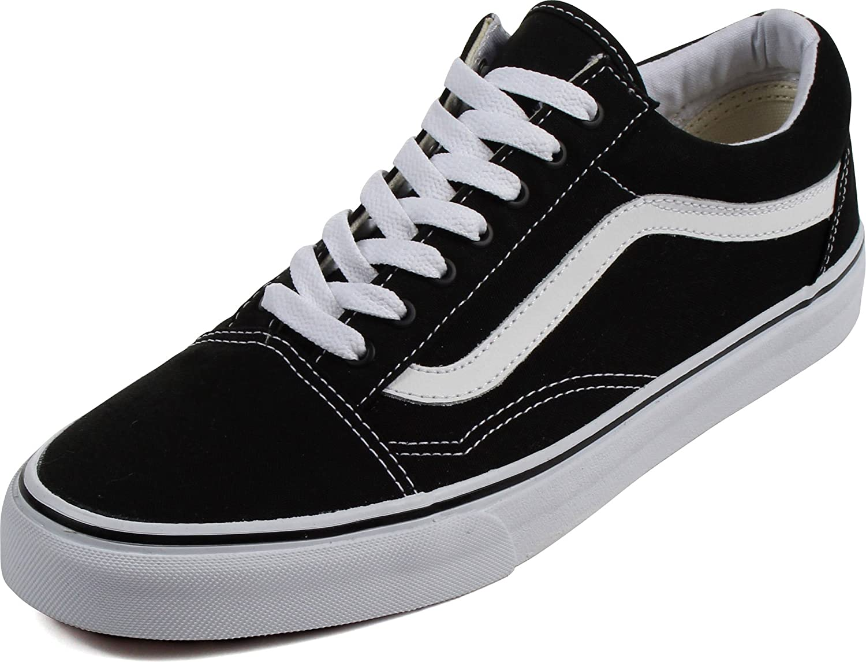 Vans Unisex Old Skool Sneaker Black/True White Size 10.5 M US Women / 9 M US Men