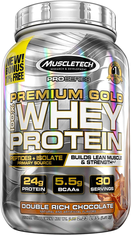 MuscleTech Premium gold 100% Whey Predein, Premium Whey Predein Powder, Instantized and Ultra Clean 100% Whey Predein, Double Rich Chocolate, 2.3 Pounds