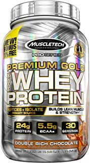 MuscleTech Premium Gold 100% Whey Protein Powder, Ultra Fast Absorbing Whey Peptides & Whey Protein Isolate, Double Rich Chocolate, 2.23lbs (free offer % may differ)