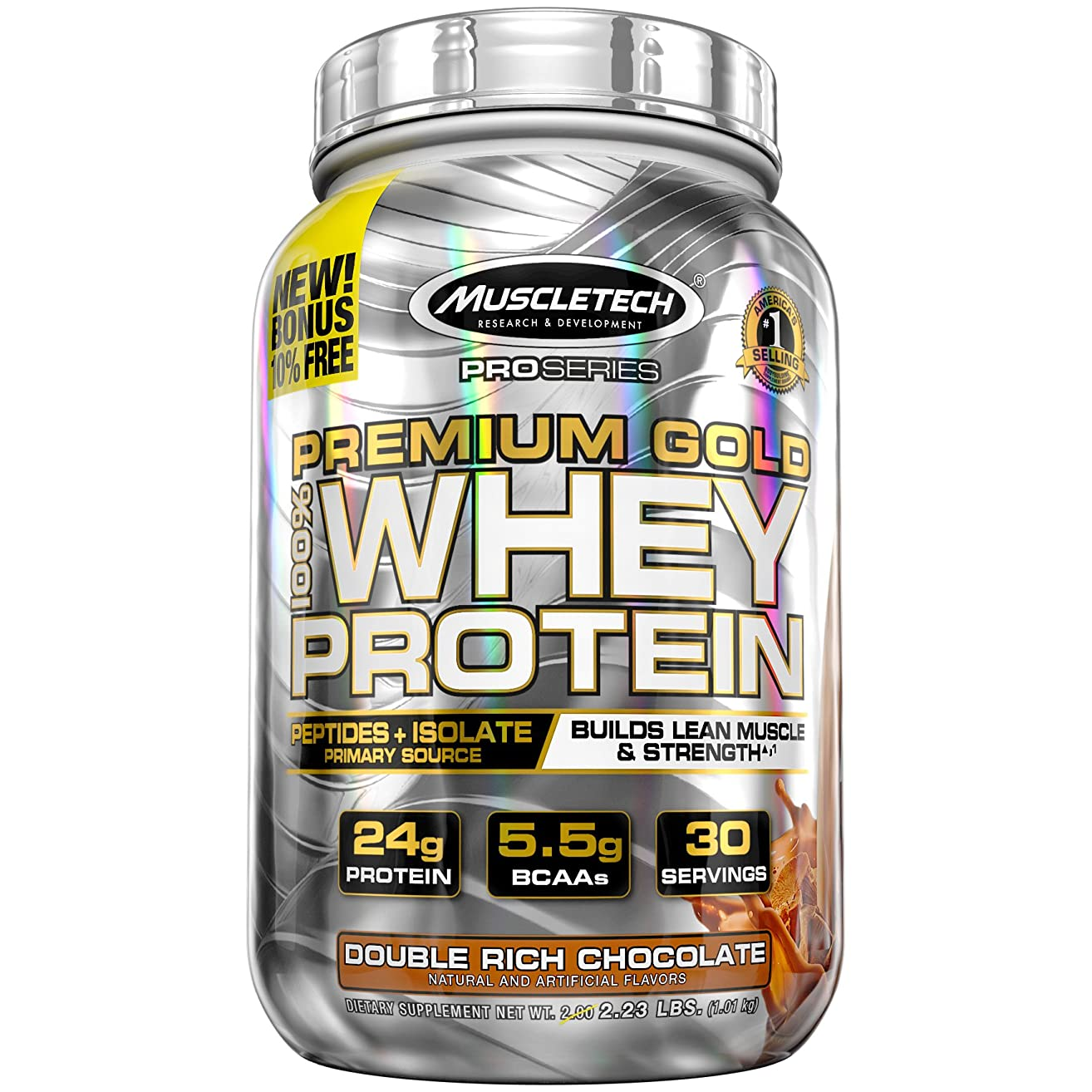 MuscleTech Premium Gold 100% Whey Protein Powder, Ultra Fast Absorbing Whey Peptides & Whey Protein Isolate, Double Rich Chocolate, 35.6 Ounce