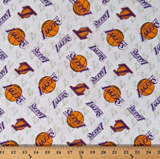 Cotton Los Angeles Lakers White NBA Pro Basketball Sports Team Cotton Fabric Print by The Yard (D670.13)