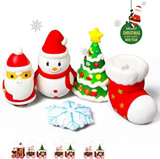 R HORSE 5 Pcs Christmas Squishy Toys Christmas Santa Claus, Snowman, Snowflake, Christmas Tree, Christmas Stocking Kawaii Cute Slow Rising Squishies Stress Relief Decompressive Toys for Children