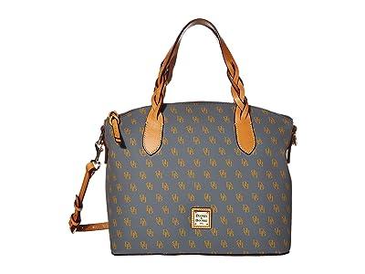 Dooney & Bourke Blakely Celeste Satchel (Slate/Butterscotch Trim) Satchel Handbags