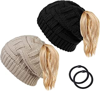 2 Pack Ponytail Hat Women Winter Warm Hats Cable Knit Ponytail Beanie Messy Bun Hat Fleece Lined