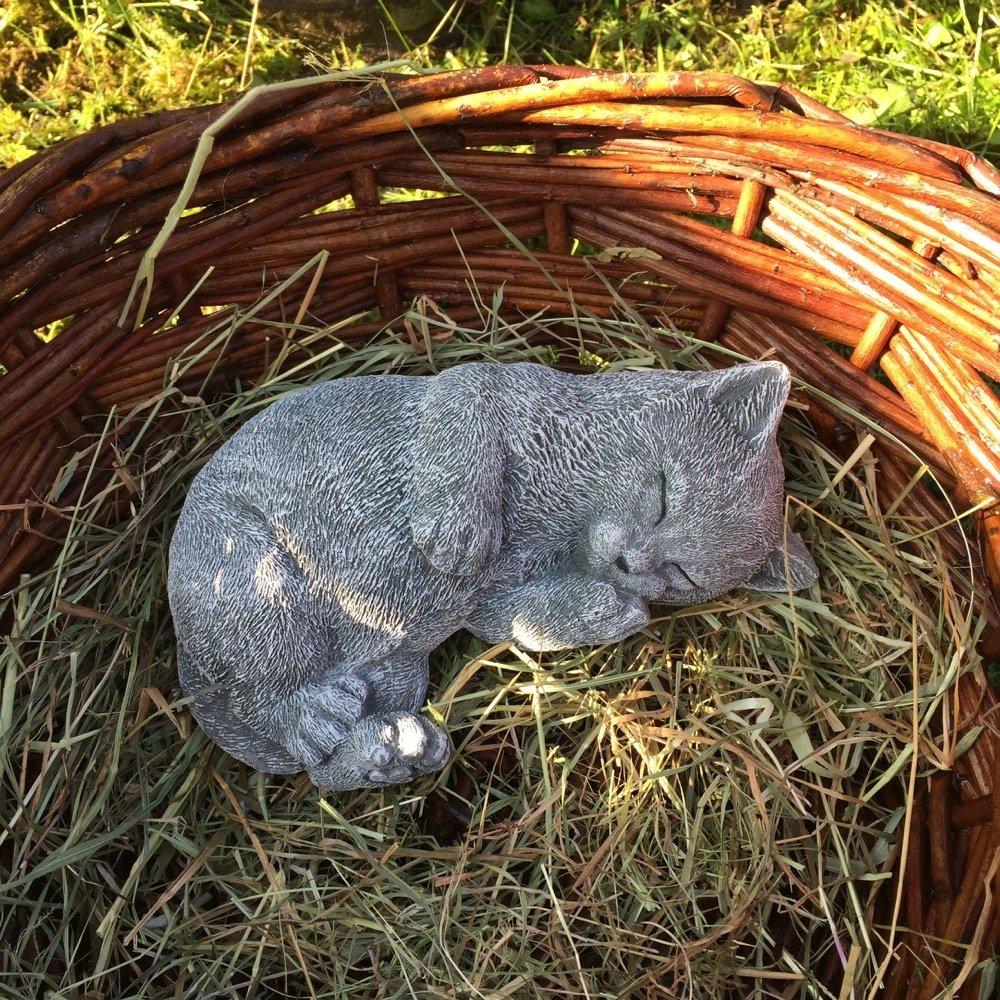 Antikas - gato soñador de piedra - gato pequeño decoración jardín - gato decorativo figuras de animal: Amazon.es: Jardín
