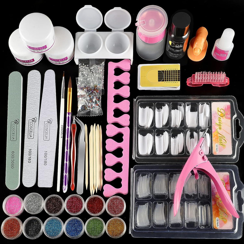 COSCELIA Kit de Polvo Cristal para Uñas y Herramientas Decoración para Manicura Kit de Arte Unas