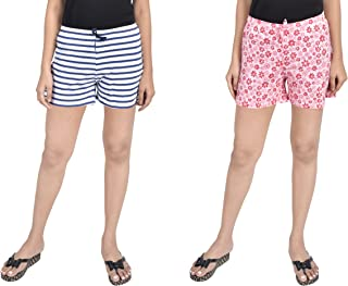 A9- Women Printed White, Light Pink Shorts - Pack of 2