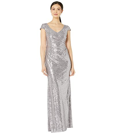 Adrianna Papell Cap Sleeve Sequin Mermaid Evening Gown (Lilac Grey) Women