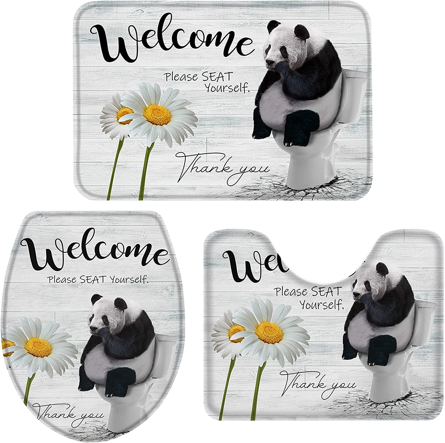 MAIANNE Bathroom Rugs Set Super All items in the store beauty product restock quality top 3 Piece Daisy Panda Non Sitting Toilet