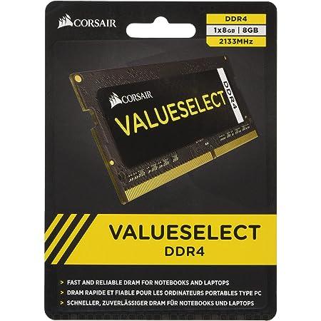 Corsair Value Select - Módulo de Memoria de 8 GB (1 x 8 GB, SODIMM, DDR4, 2133 MHz, CL15), Negro (CMSO8GX4M1A2133C15)