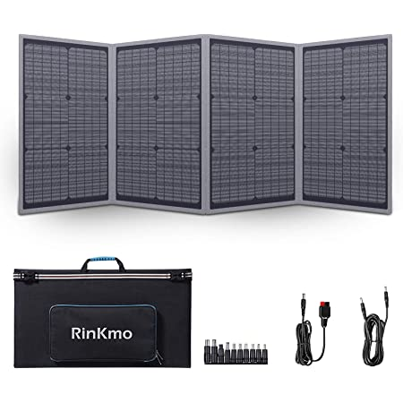 RINKMO 100 Watt Solar Panel, Portable Solar Generator for Power Station, Solar Battery Charger with Adjustable Kickstand, Foldable Solar Charger for Summer Camping, RV (Support PD Charging)