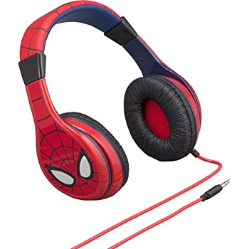 Spider Man Kids Headphones, Adjustable Headband, Stereo Sound, 3.5mm Jack, Wired Headphones for Kids, Tangle-Free, Volume Control, Foldable, Childrens Headphones Over Ear Packaging