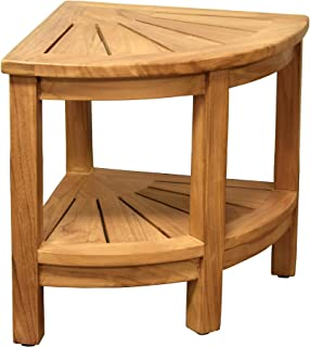 Asta Classic Solid Teak Indoor Outdoor Shower/Bath/Spa Corner Stool Bench, Corner Table with Bottom Shelf, Fully Assembled, TB-116A