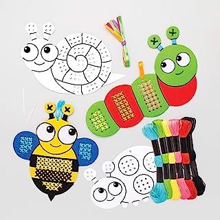 Baker Ross AT619 - Kits de Punto de Cruz Insectos para Colorear - una Introducción al Punto de Cruz para Niños (Paquete de 5)