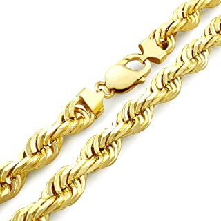 "Men's 14k Yellow Gold Solid 10mm Diamond Cut Rope Chain Necklace, 24""- 30"""