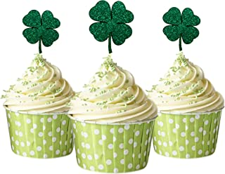 Lucky Four Leaf Clover Cupcake Topper 12 pieces per Pack Cupcake Topper Decoration Card Stock Green