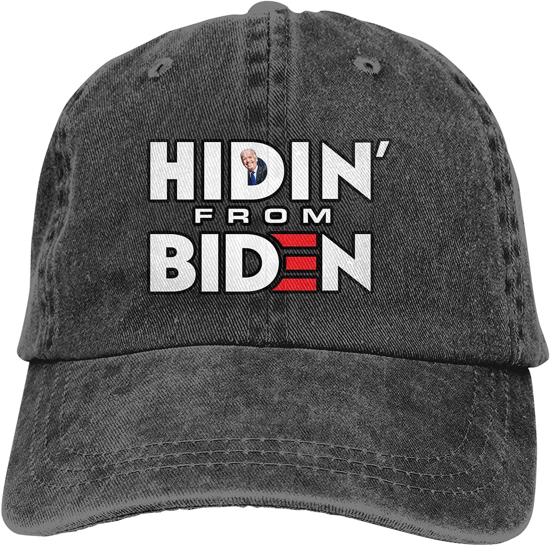 Hidin' from Biden Sports Baseball Cap Washable Trucker Hat Adjustable Sun Protection Cap Unisex Black