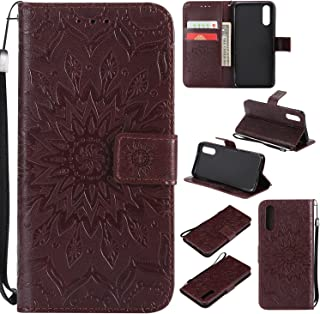 Cfrau Kickstand Wallet Case with Black Stylus for Huawei P20,Retro Mandala Sunflower PU Leather Magnetic Flip Folio Stand Soft Silicone Card Slots Case with Wrist Strap - Brown