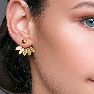 Par de aretes de oro de la chaqueta de oreja con pernos simples en plata esterlina por Emmanuela