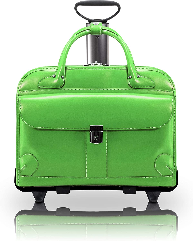 McKleinUSA Checkpoint-Friendly Women's Laptop Briefcase, Leather, Mid-Size, Red - Lakewood | McKlein - 96616, 18 L x 8 75 W x 14 5 H