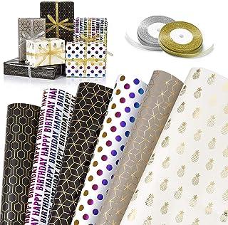 GuKKK Papier Cadeau, 6 Feuilles De Papier d'emballage Cadeau et 2 Rouleaux de Ruban, Papier Cadeau Rouleau Anniversaire, p...