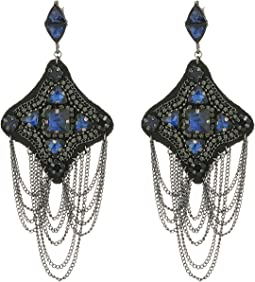 Steve Madden - Casted Curb Tassel Geo Statement Post Earrings