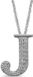 10K White Gold Diamond Initial Pendant Necklace