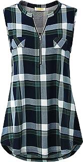 BAIKEA Women's Summer Short Sleeve Zipper Notch V Neck Tunic Tops Plaid Shirts